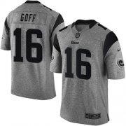 Wholesale Cheap Nike Rams #16 Jared Goff Gray Men's Stitched NFL Limited Gridiron Gray Jersey