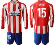 Wholesale Atletico Madrid #15 Savic Home Long Sleeves Soccer Club Jersey