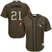 Wholesale Cheap Blue Jays #21 Roger Clemens Green Salute to Service Stitched MLB Jersey