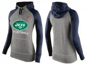 Wholesale Cheap Women's Nike New York Jets Performance Hoodie Grey & Dark Blue