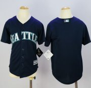 Wholesale Cheap Mariners Blank Navy Blue Cool Base Stitched Youth MLB Jersey