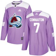 Wholesale Cheap Adidas Avalanche #7 Kevin Connauton Purple Authentic Fights Cancer Stitched NHL Jersey