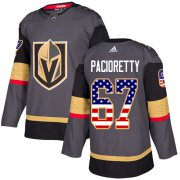 Wholesale Cheap Adidas Golden Knights #67 Max Pacioretty Grey Home Authentic USA Flag Stitched NHL Jersey