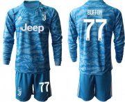 Wholesale Cheap Juventus #77 Buffon Blue Goalkeeper Long Sleeves Soccer Club Jersey