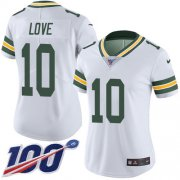 Wholesale Cheap Nike Packers #10 Jordan Love White Women's Stitched NFL 100th Season Vapor Untouchable Limited Jersey