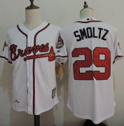 Wholesale Cheap Mitchell And Ness 1995 Braves #29 John Smoltz White Throwback Stitched MLB Jersey