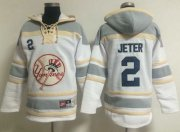 Wholesale Cheap Yankees #2 Derek Jeter White Sawyer Hooded Sweatshirt MLB Hoodie
