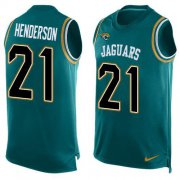 Wholesale Cheap Nike Jaguars #21 C.J. Henderson Teal Green Team Color Men's Stitched NFL Limited Tank Top Jersey