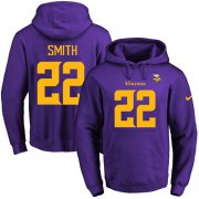 Wholesale Cheap Nike Vikings #22 Harrison Smith Purple(Gold No.) Name & Number Pullover NFL Hoodie