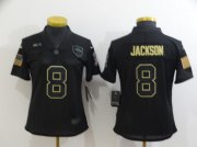 Wholesale Cheap Women's Baltimore Ravens #8 Lamar Jackson Black 2020 Salute To Service Stitched NFL Nike Limited Jersey