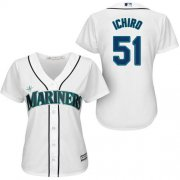 Wholesale Cheap Mariners #51 Ichiro Suzuki White Women's Fashion Stitched MLB Jersey