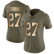 Wholesale Cheap Nike Ravens #27 J.K. Dobbins Olive/Gold Women's Stitched NFL Limited 2017 Salute To Service Jersey