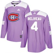 Wholesale Cheap Adidas Canadiens #4 Jean Beliveau Purple Authentic Fights Cancer Stitched Youth NHL Jersey