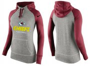 Wholesale Cheap Women's Nike Kansas City Chiefs Performance Hoodie Grey & Red_2