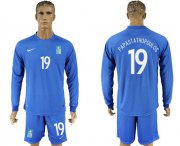Wholesale Cheap Greece #19 Papastathopoulos Away Long Sleeves Soccer Country Jersey