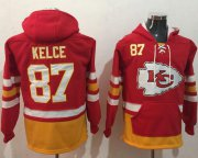 Wholesale Cheap Nike Chiefs #87 Travis Kelce Red/Gold Name & Number Pullover NFL Hoodie