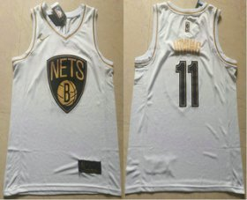Wholesale Cheap Men\'s Brooklyn Nets #11 Kyrie Irving White Golden Nike Swingman Stitched NBA Jersey
