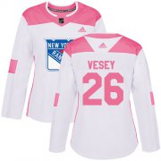 Wholesale Cheap Adidas Rangers #26 Jimmy Vesey White/Pink Authentic Fashion Women's Stitched NHL Jersey