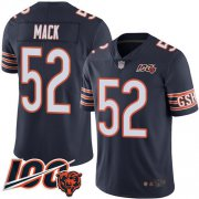 Wholesale Cheap Nike Bears #52 Khalil Mack Navy Blue Team Color Men's Stitched NFL 100th Season Vapor Limited Jersey