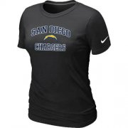 Wholesale Cheap Women's Nike Los Angeles Chargers Heart & Soul NFL T-Shirt Black