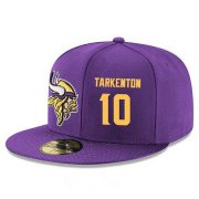 Wholesale Cheap Minnesota Vikings #10 Fran Tarkenton Snapback Cap NFL Player Purple with Gold Number Stitched Hat