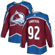 Wholesale Cheap Adidas Avalanche #92 Gabriel Landeskog Burgundy Home Authentic Stitched NHL Jersey