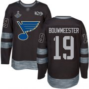 Wholesale Cheap Adidas Blues #19 Jay Bouwmeester Black 1917-2017 100th Anniversary Stanley Cup Champions Stitched NHL Jersey