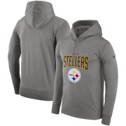 Wholesale Cheap Pittsburgh Steelers Nike Sideline Property of Performance Pullover Hoodie Gray