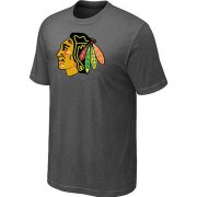Wholesale Cheap Chicago Blackhawks Big & Tall Logo Crow Grey NHL T-Shirt