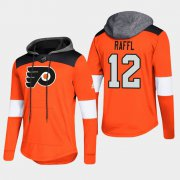 Wholesale Cheap Flyers #12 Michael Raffl Orange 2018 Pullover Platinum Hoodie