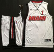 Wholesale Cheap Heat #1 Chris Bosh White Throwback A Set Stitched NBA Jersey