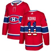 Wholesale Cheap Adidas Canadiens #11 Saku Koivu Red Home Authentic USA Flag Stitched NHL Jersey