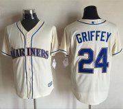 Wholesale Cheap Mariners #24 Ken Griffey Cream New Cool Base Stitched MLB Jersey