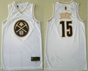 Wholesale Cheap Men's Denver Nuggets #15 Nikola Jokic White Golden Nike Swingman Stitched NBA Jersey