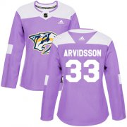 Wholesale Cheap Adidas Predators #33 Viktor Arvidsson Purple Authentic Fights Cancer Women's Stitched NHL Jersey