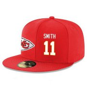 Wholesale Cheap Kansas City Chiefs #11 Alex Smith Snapback Cap NFL Player Red with White Number Stitched Hat