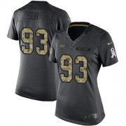 Wholesale Cheap Nike Buccaneers #93 Ndamukong Suh Black Women's Stitched NFL Limited 2016 Salute to Service Jersey