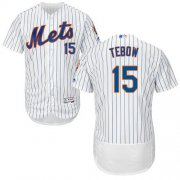 Wholesale Cheap Mets #15 Tim Tebow White(Blue Strip) Flexbase Authentic Collection Stitched MLB Jersey