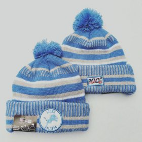 Wholesale Cheap Lions Team Logo Light Blue 100th Season Pom Knit Hat YD
