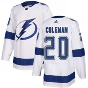 Cheap Adidas Lightning #20 Blake Coleman White Road Authentic Stitched NHL Jersey