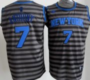 Wholesale Cheap New York Knicks #7 Carmelo Anthony Gray With Black Pinstripe Jersey