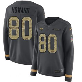 Wholesale Cheap Nike Buccaneers #80 O. J. Howard Anthracite Salute to Service Women\'s Stitched NFL Limited Therma Long Sleeve Jersey