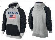Wholesale Cheap Olympic Team USA Pullover Hoodie Grey & Black