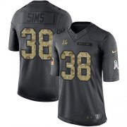 Wholesale Cheap Nike Bengals #38 LeShaun Sims Black Youth Stitched NFL Limited 2016 Salute to Service Jersey