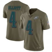 Wholesale Cheap Nike Eagles #4 Jake Elliott Olive Youth Stitched NFL Limited 2017 Salute to Service Jersey