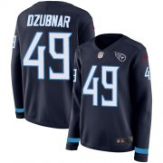 Wholesale Cheap Nike Titans #49 Nick Dzubnar Navy Blue Team Color Women's Stitched NFL Limited Therma Long Sleeve Jersey