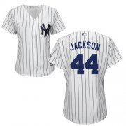 Wholesale Cheap Yankees #44 Reggie Jackson White Strip Home Women's Stitched MLB Jersey