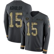 Wholesale Cheap Nike Raiders #15 Nelson Agholor Anthracite Salute to Service Men's Stitched NFL Limited Therma Long Sleeve Jersey
