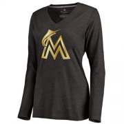 Wholesale Cheap Women's Miami Marlins Gold Collection Long Sleeve V-Neck Tri-Blend T-Shirt Black