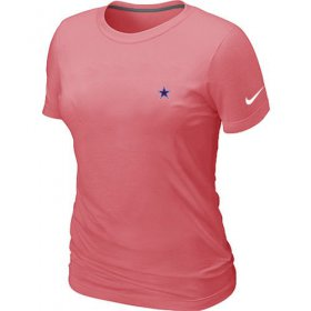 Wholesale Cheap Women\'s Nike Dallas Cowboys Chest Embroidered Logo T-Shirt Pink